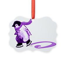 Purple Penguins on Ice Ornament