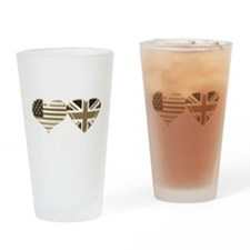 USA and UK Sepia Flag Art Drinking Glass