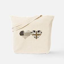 USA and UK Sepia Flag Art Tote Bag