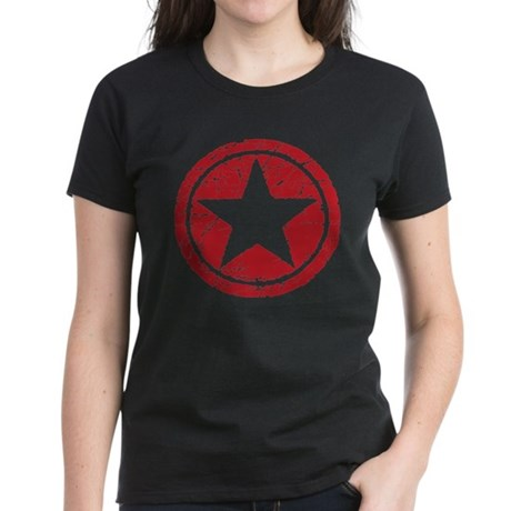 Red Circle Star black shirt Women's Dark T-Shirt
