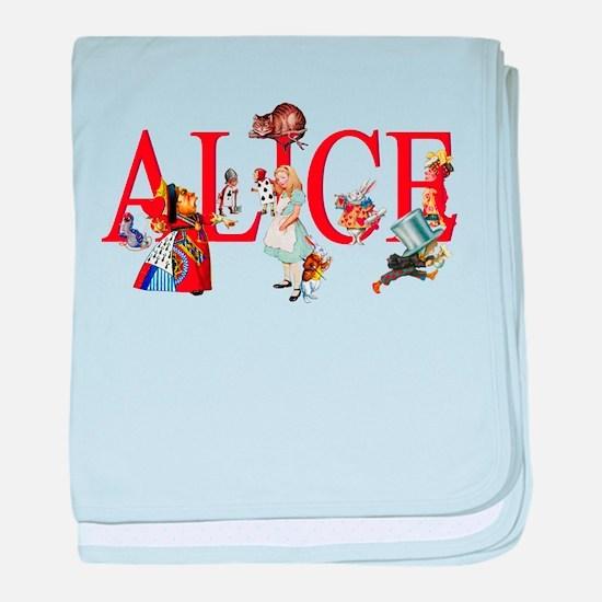 Alice and Her Friends in Wonderland baby blanket