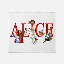 Alice and Her Friends in Wonderland Throw Blanket