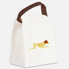 Liver & White Leaping GSP Canvas Lunch Bag