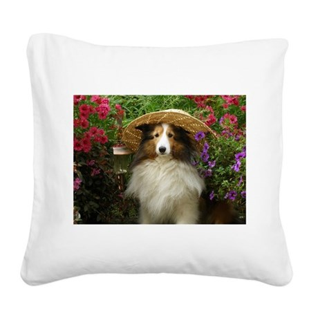 Girl In a Hat Square Canvas Pillow