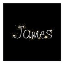 "James Spark Square Car Magnet 3"" x 3"""