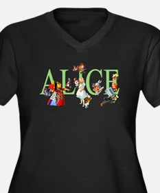 Alice and He Women's Plus Size V-Neck Dark T-Shirt