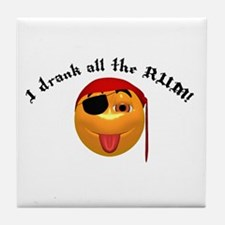 Drank All the Rum Pirate Smiley Tile Coaster