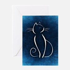 Blue Abstract Cat Greeting Cards
