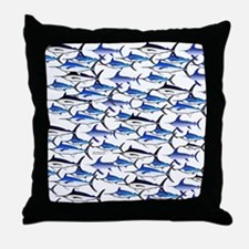 School of Marlin and a Swordfish Throw Pillow