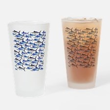School of Marlin and a Swordfish Drinking Glass