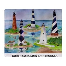 NC Light houses Throw Blanket