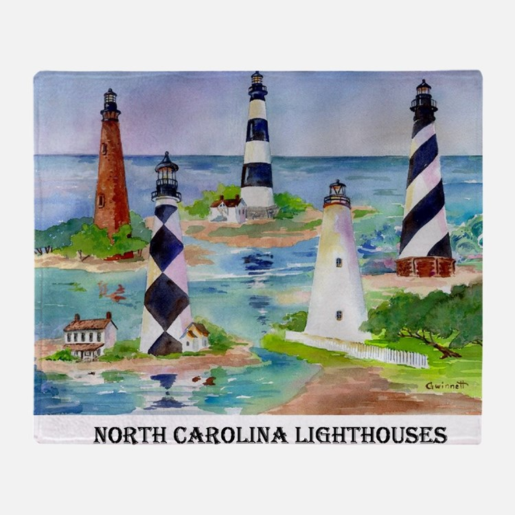 NC Light houses Throw Blanket