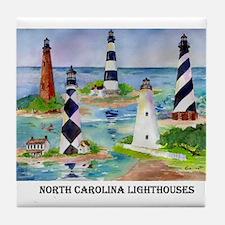 NC Light houses Tile Coaster