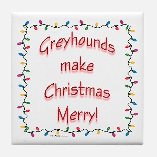 Merry Greyhound Tile Coaster