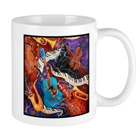 Jazz Music Guitar Piano Scene Mug