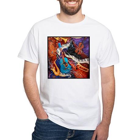 Jazz Music Guitar Piano Scene White T-Shirt
