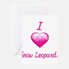 I Love/Heart Snow Leopards Greeting Card