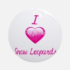 I Love/Heart Snow Leopards Ornament (Round)