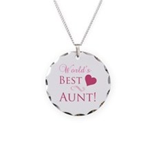 World's Best Aunt (Heart) Necklace Circle Charm