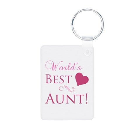 World's Best Aunt (Heart) Aluminum Photo Keychain