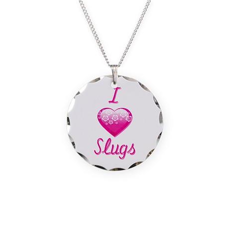 I Love/Heart Slugs Necklace Circle Charm