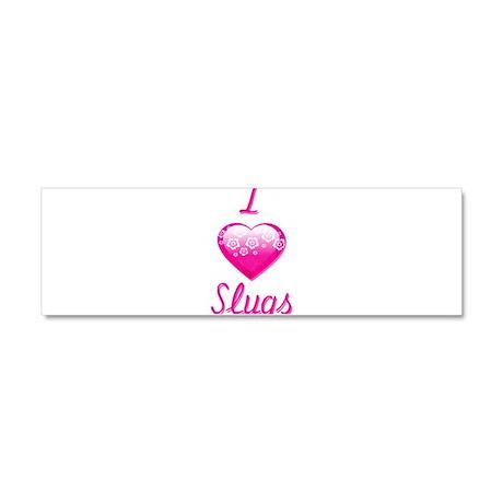 I Love/Heart Slugs Car Magnet 10 x 3