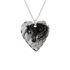 Cool Horses Necklace Heart Charm