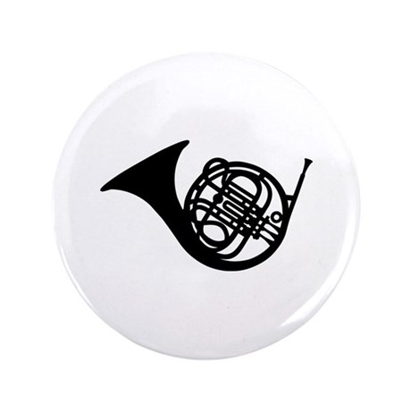 "Bugle french horn 3.5"" Button (100 pack)"