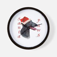 Santa Paws Greyhound Wall Clock