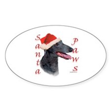 Santa Paws Greyhound Oval Decal