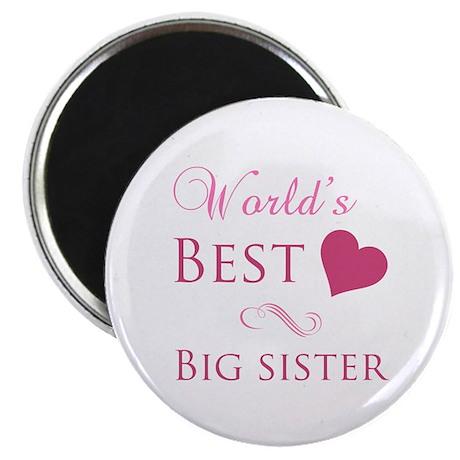 "World's Best Big Sister (Heart) 2.25"" Magnet (100"