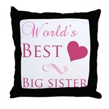World's Best Big Sister (Heart) Throw Pillow