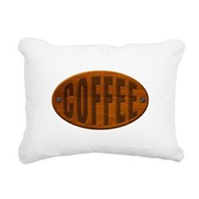 Wood Coffee Plaque Rectangular Canvas Pillow