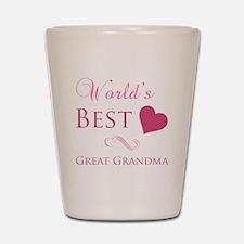 World's Best Great Grandma (Heart) Shot Glass