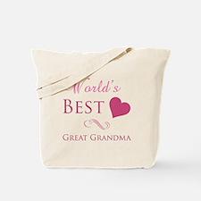 World's Best Great Grandma (Heart) Tote Bag