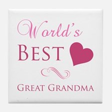 World's Best Great Grandma (Heart) Tile Coaster