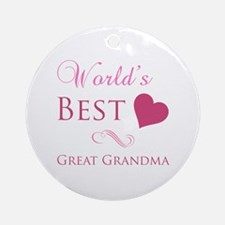 World's Best Great Grandma (Heart) Ornament (Round