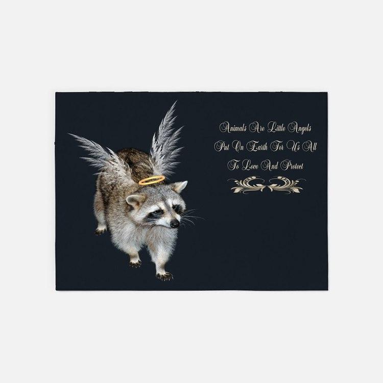 Raccoon Angel 5'x7'Area Rug