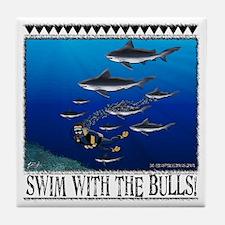 Swim With The Bulls Tile Coaster