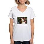 Friendship Grows In Gardens Women's V-Neck T-Shirt