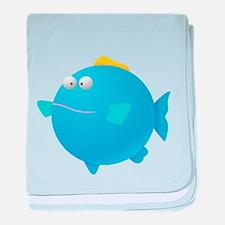 Blue Puffer Fish Kids Shirt baby blanket
