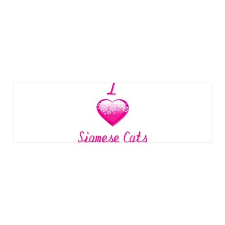 I Love/Heart Siamese Cats 36x11 Wall Decal