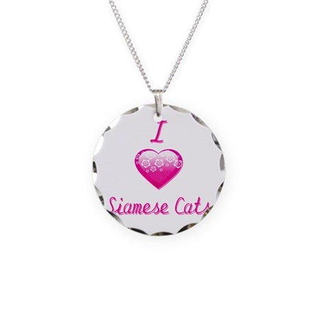 I Love/Heart Siamese Cats Necklace Circle Charm