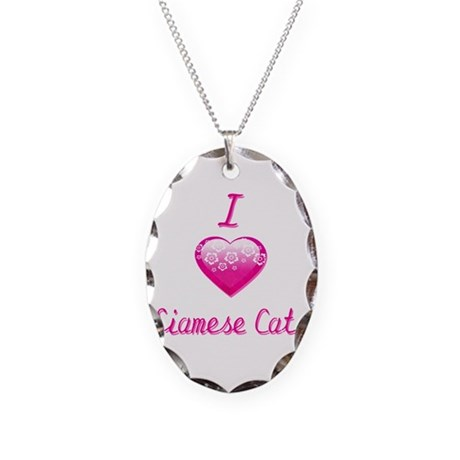 I Love/Heart Siamese Cats Necklace Oval Charm