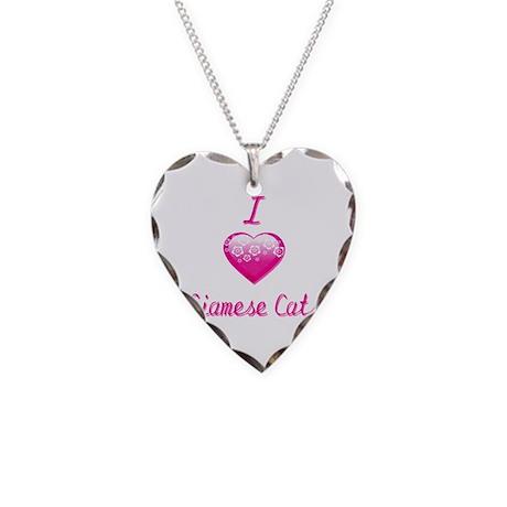 I Love/Heart Siamese Cats Necklace Heart Charm