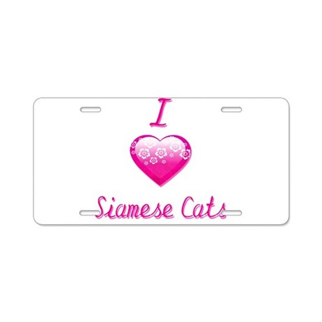 I Love/Heart Siamese Cats Aluminum License Plate
