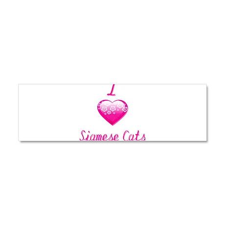 I Love/Heart Siamese Cats Car Magnet 10 x 3