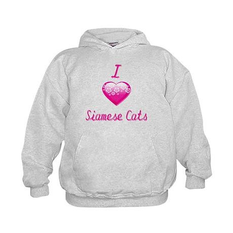 I Love/Heart Siamese Cats Kids Hoodie