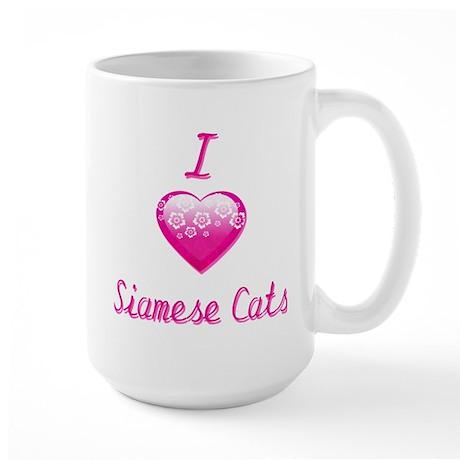 I Love/Heart Siamese Cats Large Mug