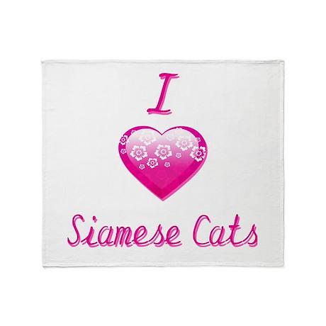 I Love/Heart Siamese Cats Throw Blanket